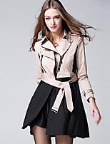 BURDULLY® Damen Hemdkragen Lange Ärmel Trench Coat Khaki-9126