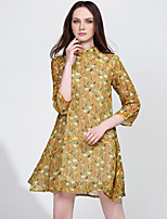 Women's Plus Size / Casual/Daily Vintage A Line Dress,Print Stand Above Knee ¾ Sleeve Yellow Polyester Spring