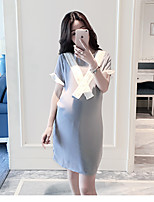 Maternity Casual/Daily Simple Loose Dress,Color Block Round Neck Above Knee Short Sleeve Gray Polyester Summer