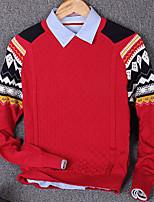 Herren Pullover-Druck Freizeit Baumwolle Lang Blau / Rot / Grau