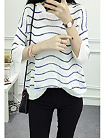 Women's Going out / Cute Regular Pullover,Striped White / Black / Green Round Neck Long Sleeve Cotton Spring / Fall