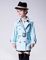 Girl's Casual/Daily Solid Trench Coat,Cotton Winter / Fall Blue / Brown / Red