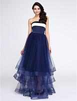 TS Couture® Serata formale Vestito - A blocchi di colore Linea-A Senza spalline Lungo Raso / Tulle con A strati