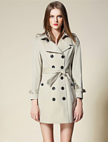BURDULLY Women's Shirt Collar Long Sleeve Trench Coat Khaki-5121