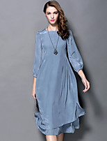 ES·DANNUO Women's Simple Solid A Line Dress,Round Neck Knee-length Silk