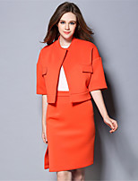 Women Plus Size Simple Solid Daily Work 3/4 Sleeve Coat+Split Skirt Two Piece Set