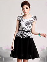 Women's Work / Plus Size Sophisticated Sheath Dress,Print Square Neck Knee-length Short Sleeve Black Cotton / Rayon Fall
