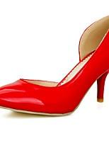 Mujer-Tacón Stiletto-Tacones / Puntiagudos-Sandalias-Oficina y Trabajo / Casual-Cuero Patentado-Negro / Amarillo / Rojo / Blanco