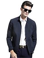 Men's Long Sleeve Casual / Sport Jacket,Polyester Solid Black / Blue / Beige