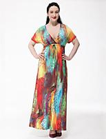 Women's Plus Size Boho Swing Dress,Rainbow Deep V Maxi Short Sleeve Polyester Summer High Rise Micro-elastic Medium