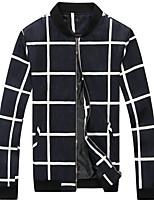 Men's Casual Slim Stand Collar Plaid Jacket,Cotton / Polyester Plaids Blue