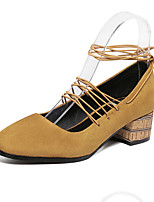 Women's Heels Fall Heels / Square Toe Suede Casual Chunky Heel Lace-up Black / Brown Others