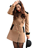 Women's Going out Street chic Coat,Color Block Round Neck Long Sleeve Winter Black / Brown Polyester Thick