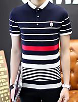 Men's Short Sleeve PoloCotton Casual / Plus Size Striped