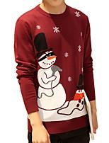 Мужской В полоску Пуловер На каждый день,Хлопок,Длинный рукав,Красный