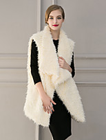 Women's Casual/Daily / Formal Street chic Fur Coat,Solid Shirt Collar Sleeveless Winter Beige / Black Faux Fur Thick