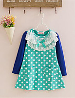 Girl's Casual/Daily Polka Dot Dress,Cotton Spring / Fall Green / Pink