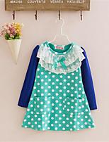 Girl's Casual/Daily Polka Dot Dress,Cotton Spring / Fall Green / Pink