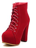 Черный / Красный-Женский-На каждый день-Полиуретан-На толстом каблуке-Военные ботинки / С круглым носком-Ботинки