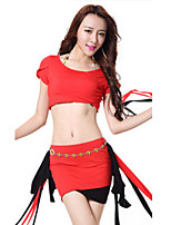 Belly Dance Outfits Women's Training Modal Tassel(s) 2 Pieces Belly Dance Short Sleeve Natural Top / Skirt