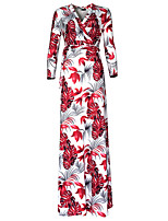 Women's Plus Size Sexy / Boho Loose Dress,Floral V Neck Maxi Long Sleeve Red Polyester Spring / Fall