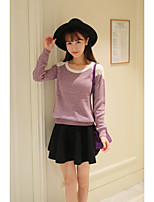 Women's Going out Cute Regular Pullover,Solid / Jacquard Purple Cotton / Acrylic / Polyester Spring / Fall