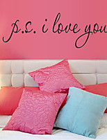 I Love You English Word Glass Wall Stickers DIY Living Room Bedroom Wall Decals