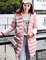 Women's Solid Pink / Black / Gray / Green Padded Coat,Simple Hooded Long Sleeve