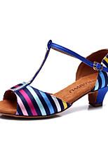 Chaussures de danse(Bleu) -Non Personnalisables-Talon Cubain-Satin-Latine