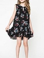 Girl's Casual/Daily Floral Dress,Rayon Summer Black / White