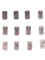 12pcs Mixed Batch Of New Alloy Parts Twelve Constellation Square Accessories
