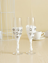 Wedding Accessories with Lace Rhinestone Sparkling Love Bride Groom Twisted Champagne Glasses Toasting Flutes, Set of 2