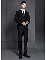 Suits Standard Fit Notch Single Breasted Two-buttons Polyester Solid 2 Pieces Black / Gray Straight Flapped