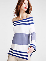 Women's Going out Street chic Regular Pullover,Striped Blue Boat Neck Long Sleeve Cotton / Acrylic Spring  Winter Medium