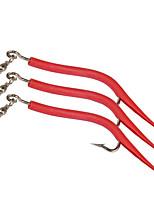 5pcs/lot pcs Leurre souple / Kits de leurre / Vers / Shad Vert / Rouge 2.4 g/1/10 Once,65 mm/2-5/8