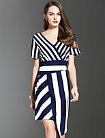 ES·DANNUO Women's Sophisticated Striped Sheath Dress,V Neck Asymmetrical Cotton