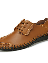 Men's Oxfords Comfort Spring Fall Nappa Leather Casual Office & Career Party & Evening Lace-up Flat Heel Dark Brown Yellow Gray Black Flat