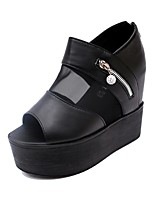 Women's Sandals Summer / Fall Creepers Leatherette Casual Wedge Heel Zipper Black / White Others