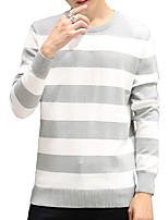 Мужской В полоску Пуловер На каждый день,Хлопок,Длинный рукав,Черный / Синий / Красный / Серый