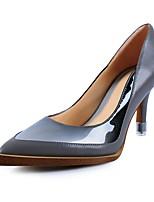 Damen-High Heels-Kleid-Nappaleder-Stöckelabsatz-Absätze-Blau / Grau