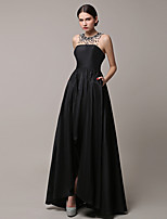 Formal Evening Dress A-line Jewel Asymmetrical Satin with Beading
