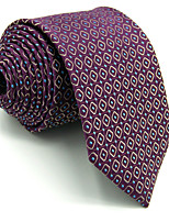 Men's Tie Purple Checked 100% Silk Necktie Wedding Casual For Men Jacquard Woven
