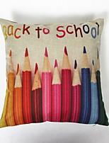 Back To School Colourful Pencils Square Linen  Decorative Throw Pillow Case Cushion Cover