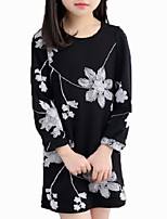 Girl's Casual/Daily Print Blouse,Cotton Spring / Fall Black