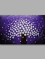 Stretched (Ready to hang) Hand-Painted Oil Painting 90cmx60cm Canvas Wall Art Modern Abstract Purple White