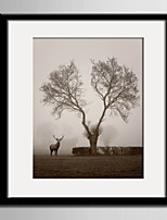 E-HOME® Framed Canvas Art, A Tree And A Deer Framed Canvas Print One Pcs
