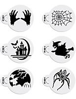 6pcs/set Halloween Decorating Stencil Bat Design Cookies Stencil Fondant Plastic Stencil for Cake ST-913