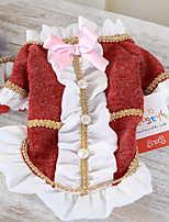 Dog Costume Red / Gray Winter Britsh Keep Warm, Dog Clothes / Dog Clothing