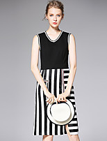 AFOLD® Women's V Neck Sleeveless Knee-length Dress-6020