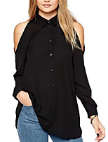 Women's Going out Sexy / Street chic All Seasons Blouse,Solid Shirt Collar Long Sleeve Blue  / Black Polyester Thin